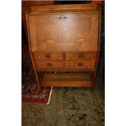 EXCELLENT OAK BLOCK FRONT DESK - MISSION - SIGNED QUAINT FURNITURE - STICKLEY BROS.