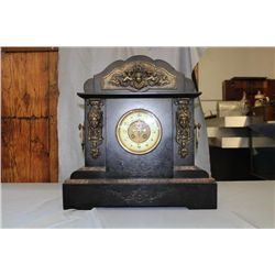 "GREAT MARBLE SHELF CLOCK - ORNATELY TRIMMED W/ BRASSES - 19"" X 19"" X 6"" DEEP"