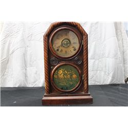 "GREAT INGRAHAM CLOCK W/ MOSAIC FRONT - 15"" TALL"