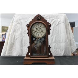 "WALNUT MANTLE CLOCK - 20"" TALL"