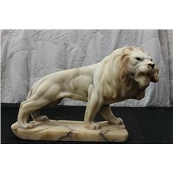 "SOLID MARBLE LION W/ GLASS EYES - 11"" LONG - 10"" HIGH"