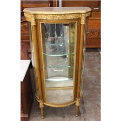 """FRENCH STYLE GOLD GUILT CURIO - 54"""" HIGH - 24"""" WIDE - 13"""" DEEP"""