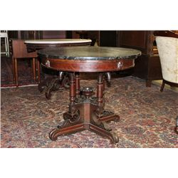 """GREAT WALNUT MARBLE TOP STAND WITH BLACK MARBLE 33"""""""