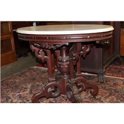 OVAL WALNUT MARBLE TOP STAND