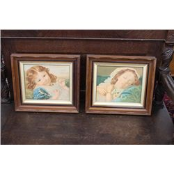 MATCHING WALNUT FRAMES WITH CARVINGS 17 X 15
