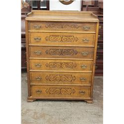 OAK 6 DRAWER LOCK SIDE WITH CARVED FRONT