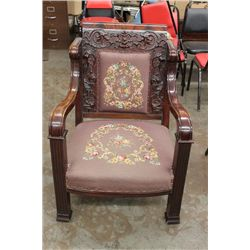 HEAVELY CARVED MAHOGANY CHAIR WITH ROSEWOOD BACK EXCELLENT NEEDLE POINT