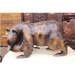 CARVED BEAR WITH FISH ALL WOOD