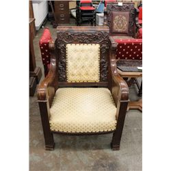 ROSEWOOD HEAVELY CARVED CHAIR MATCHING LADIES CHAIR