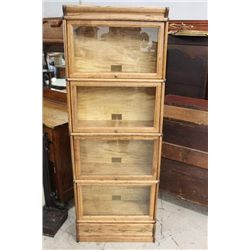 OAK 4 STACK 3/4 SIZE GLOBE WERNICKE WITH DRAWER BOTTOM