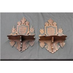 PAIR OF ORNATE WALNUT SHELVES