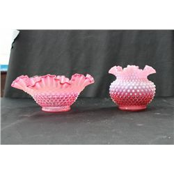 2 PCS. OF HOBNAIL CRANBERRY OPALESCENT CASE GLASS - BRIDES BASKET VASE