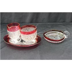 4 PCS. RUBY FLASH GLASS - CREAMER - SUGAR - NAPPY - PLATE