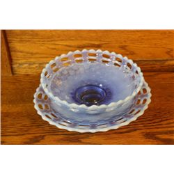 SATIN BLUE OPALESCENT BASKETWEAVE BOWL & UNDERPLATE