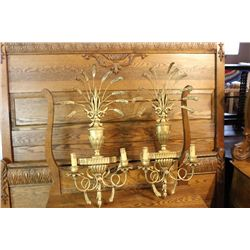 PAIR OF GOLD GUILDED WALL SCONCES - MADE IN ITALY