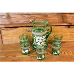 6 PIECE HAND PAINTED WATER PITCHER & GLASS SET