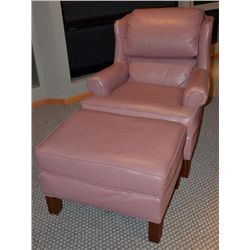 Smithe-Craft Salmon Pink Leather Chair & Ottoman