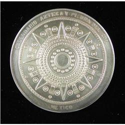 Aztec Calendar Silver Plated Vintage Coin Mexico