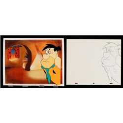 Original Fred Drawing Animation Unhappy Flintstones Cel