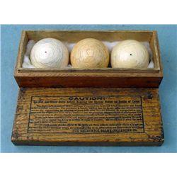 3 Pc Brunswick Balke Collender Ivory Pool Balls in Box