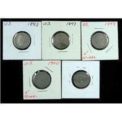 4 V Nickels & 1 Buffalo Nickel 1883-1900