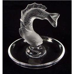 Lalique Signed Crystal Goujon Fish Ring/Pin Dish