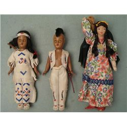 3 Vintage Native American Dolls Mohawk Indians