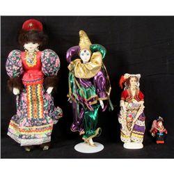 4 Vintage Costume Dolls Russia, Jester, Greece 20 inch