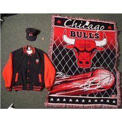 Chicago Bulls Collectors Lot- Jacket Hat Blanket Pin