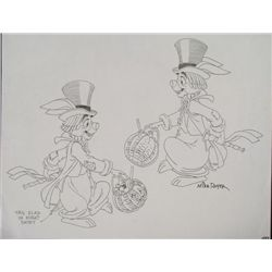Original Signed Mike Royer Drawing Rabbit Animation Art