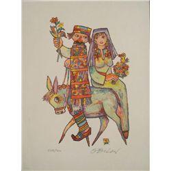 Jovan OBican Signed Art Print Couple on Donkey