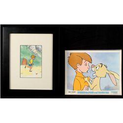 Winnie the Pooh Lobby Card Christopher Robin Framed Cel