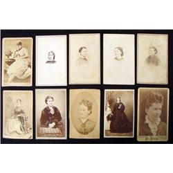 10 Antique CDV Portrait Photographs Photo Women