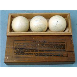 3 Ivory Brunswick Balke Collender Vint Pool Balls w/Box