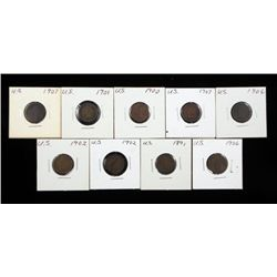 9 Mixed Dates Indian Cents Pennies 1891-1907