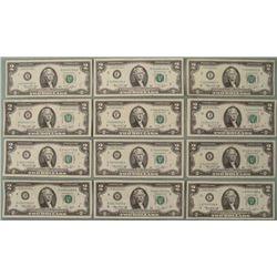 Complete Set of All Mints A-L 1976 $2 Bills UNC