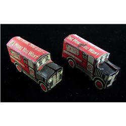 2 Vintage Cracker Jack Prizes Tin Litho Delivery Trucks