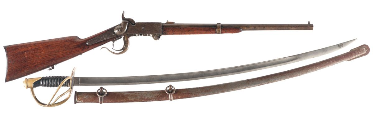 Civil War Burnside Carbine with U S  1865 Dated Saber