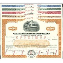 Continental Motors Corp. Registered Bonds,