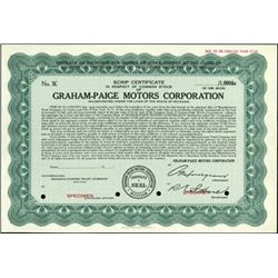 Graham-Paige Motors Corporation Stock Scrip Specime
