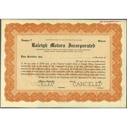 Raleigh Mortors Incorporated Stock Specimens (2),