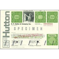 E.F. Hutton & Company Specimen Stock Certificates