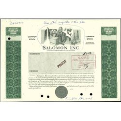 Salomon Inc. Unique Proof Stock Certificate,