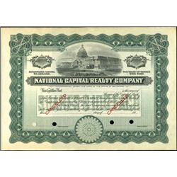 National Capital Realty Company Stock Specimen,