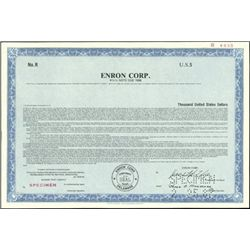 Enron Corp. Registered Bond Specimens