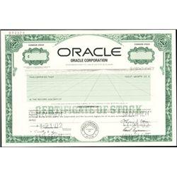 Oracle Corporation Stock Certificate Specimen