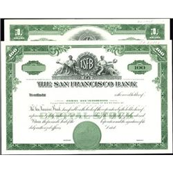 San Francisco Bank Stock Specimen & Proof,
