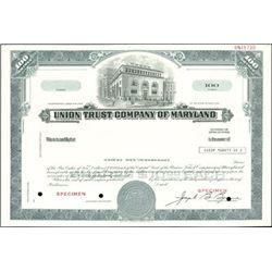 Union Trust Company of Maryland Stock Specimens