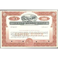 Wells Fargo Bank Specimen Stock Certificate,