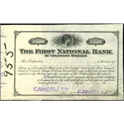 The First National Bank Proof.
